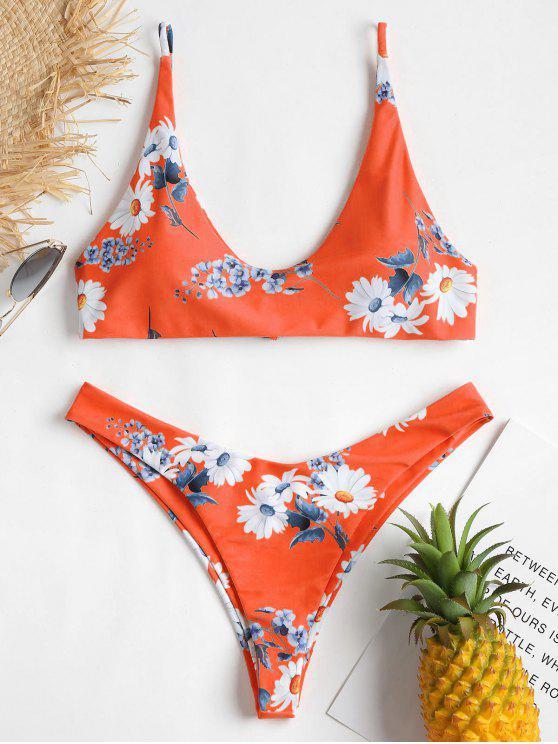 مجموعة بيكيني الأزهار - البرتقالي M
