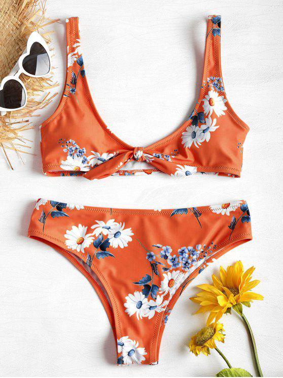 latest Daisy Print Tank Bikini Set - ORANGE L