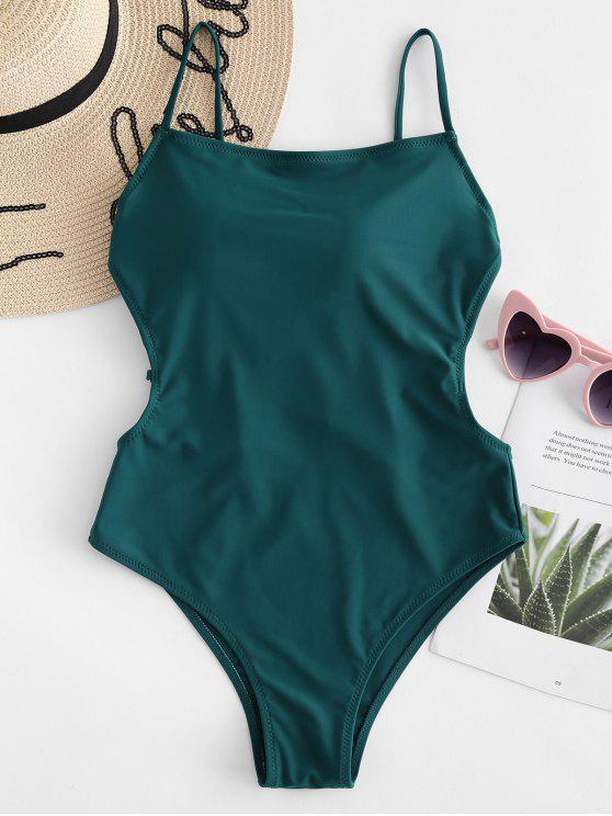 Costume Da Bagno A Vita Alta Con Lacci In Gabbia Senza Schienale - Verde Mare Medio  M