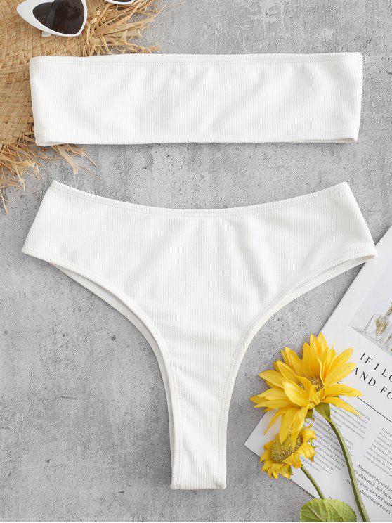 Geripptes High Leg Bralette Bikini Set - Weiß M