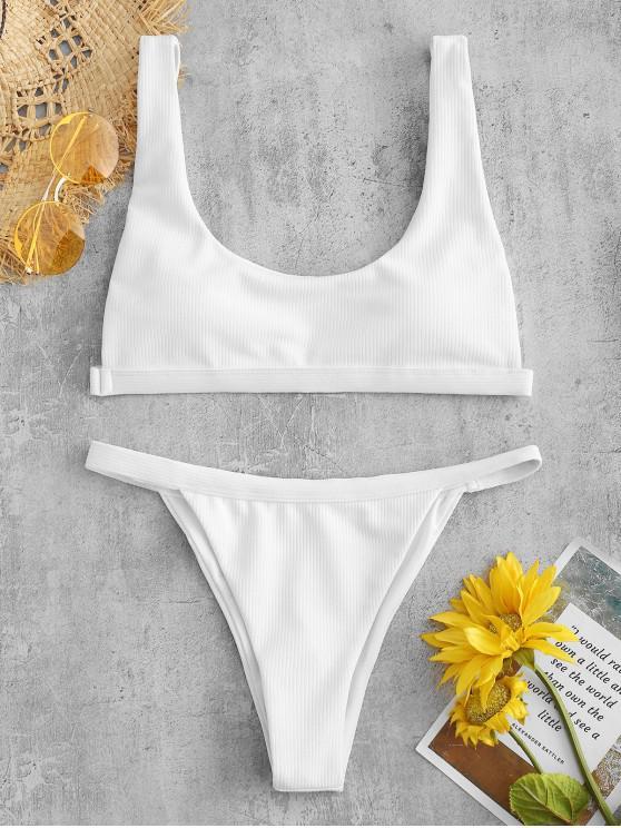 fancy Ribbed High Leg Padded Bikini Set - WHITE S