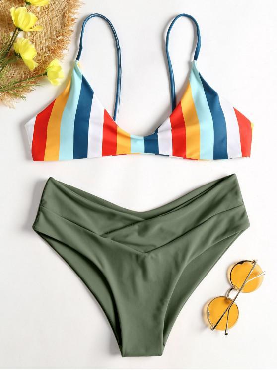 Gestreifter Hohes Bein Cami Bikini - Rehbraunes Grün L