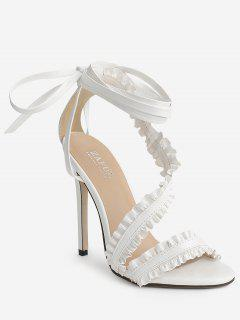 Lace Up Ankle Strap Ruffles Decoration Sandals - White 36