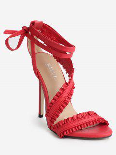 Lace Up Ankle Strap Ruffles Decoration Sandals - Chestnut Red 37