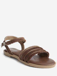 Flat Heel Retro Beading Fringes Buckled Slingback Sandals - Brown 36