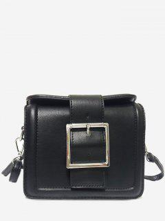 Solid Color Buckled Crossbody Bag - Black Horizontal