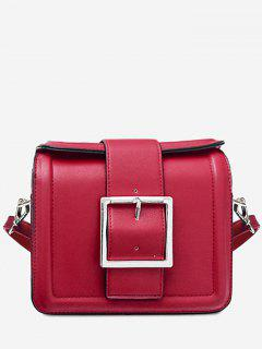 Solid Color Buckled Crossbody Bag - Red Horizontal