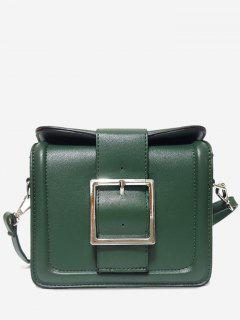 Solid Color Buckled Crossbody Bag - Green Horizontal