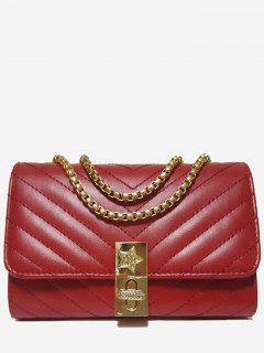 V Shaped Stitching Chain Crossbody Bag - Red Horizontal