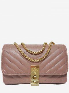 V Shaped Stitching Chain Crossbody Bag - Pink Horizontal