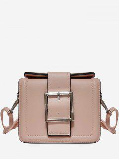 Solid Color Buckled Crossbody Bag - Pink Horizontal