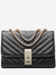 V Shaped Stitching Chain Crossbody Bag - Black Horizontal