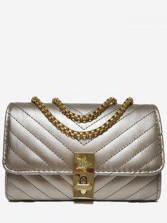V Shaped Stitching Chain Crossbody Bag - Champagne Gold Horizontal