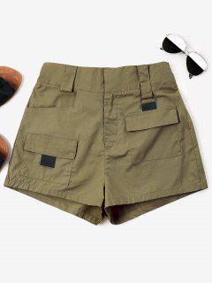 High Waist Pockets Shorts - Khaki M