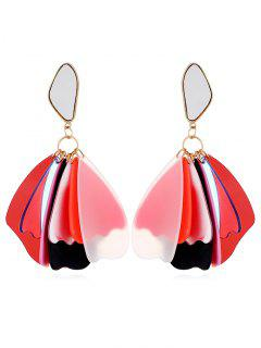Elegant Floral Acrylic Drop Earrings - Red