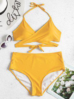 Übergroße Hohe Taille Wickel Bikini Set - Sonne Gelb 1x