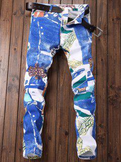 Geometrische Blumendruck-Grafik-Jeans - Blaues Kleid 38