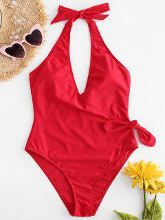 Backless Halter Knot High Cut Swimsuit - Lava Red M