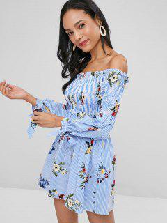Streifen Smocked Schulterfreies Kleid - Kornblumenblau L