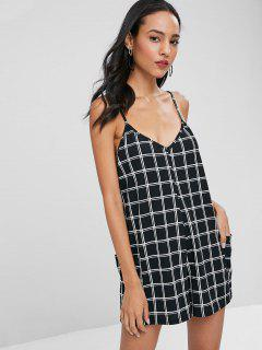 Plaid Cami Romper With Pockets - Black M