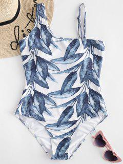 Leaves Print High Waisted Swimsuit - Greenish Blue M