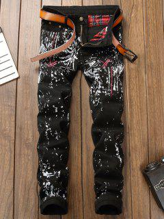 Dragonfly Embroidery Printed Jeans - Black 32