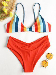 Gestreifter Hohes Bein Cami Bikini - Rot S