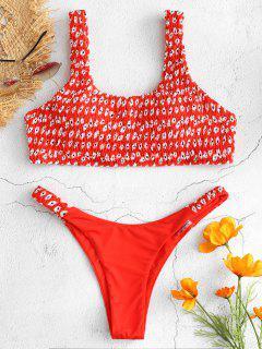 Bikini Tanga Con Diseño Floral - Rojo De Camión De Bomberos M