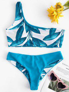 Bikini Une Epaule à Imprimé De Feuilles - Paon Bleu M