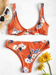 Ensemble De Bikini Débardeur Imprimé Marguerite - Orange L