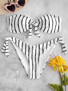 Bandeau Streifen Knoten Bikini - Weiß M