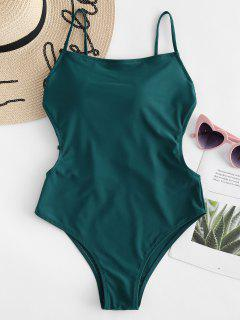 High Waisted Caged Backless Swimsuit - Medium Sea Green Xl