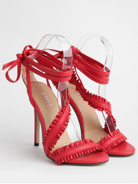 women's Lace Up Ankle Strap Ruffles Decoration Sandals - CHESTNUT RED 37 Mobile