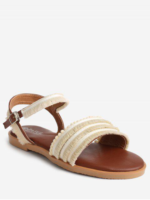 unique Flat Heel Retro Beading Fringes Buckled Slingback Sandals - APRICOT 37 Mobile