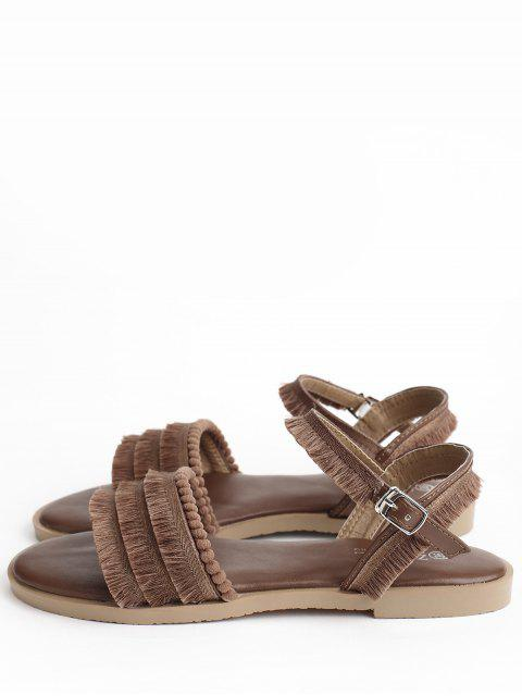 fashion Flat Heel Retro Beading Fringes Buckled Slingback Sandals - BROWN 37 Mobile
