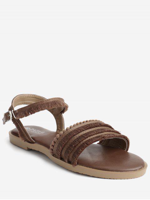 buy Flat Heel Retro Beading Fringes Buckled Slingback Sandals - BROWN 39 Mobile