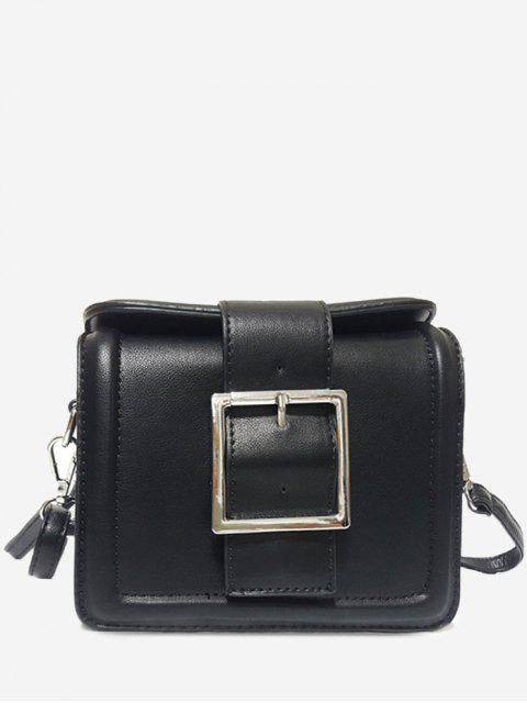sale Solid Color Buckled Crossbody Bag - BLACK HORIZONTAL Mobile