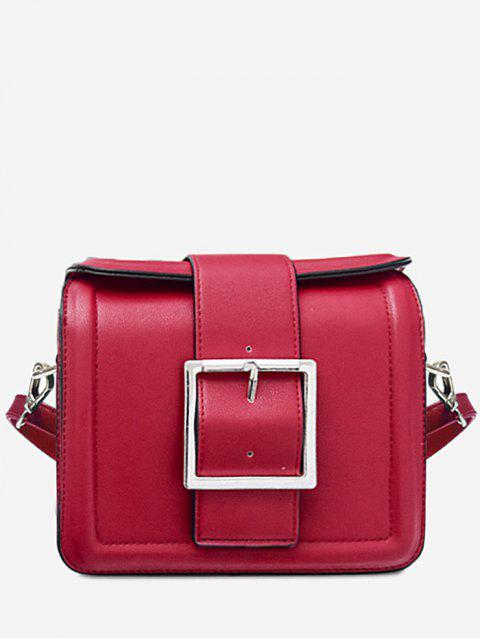affordable Solid Color Buckled Crossbody Bag - RED HORIZONTAL Mobile