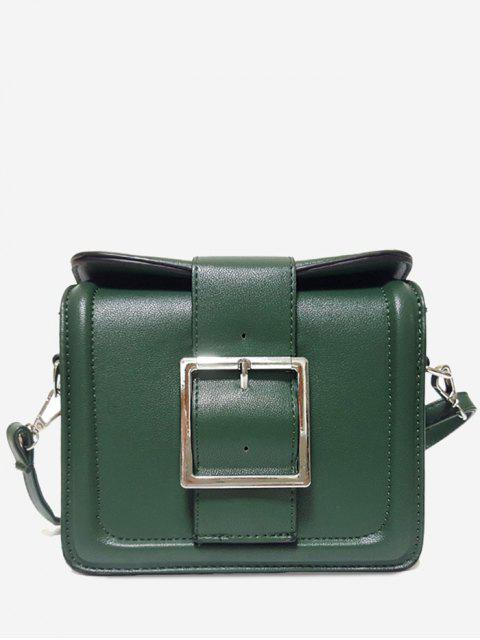 buy Solid Color Buckled Crossbody Bag - GREEN HORIZONTAL Mobile