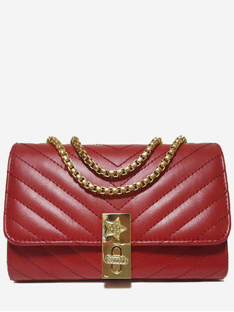 ladies V Shaped Stitching Chain Crossbody Bag - RED HORIZONTAL Mobile