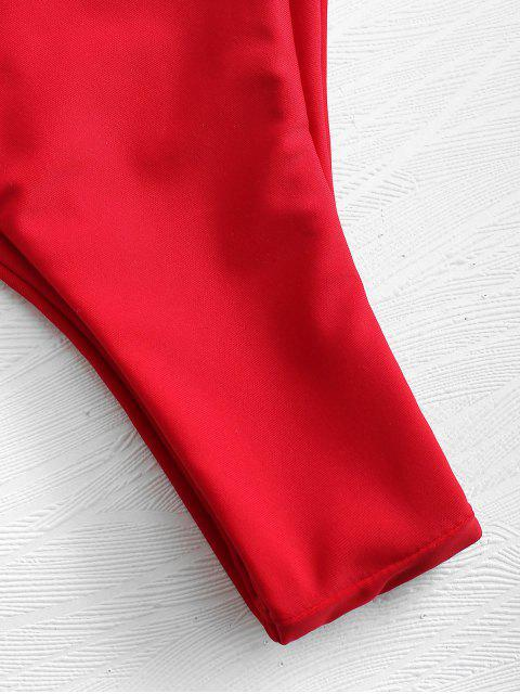 trendy Padded Bandeau Bikini Set - LOVE RED S Mobile