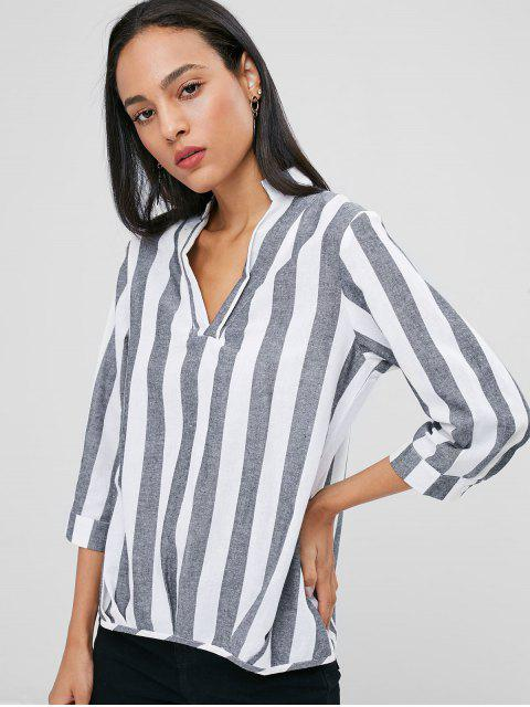 buy Buttoned Cuffs Striped Blouse - GRAY S Mobile