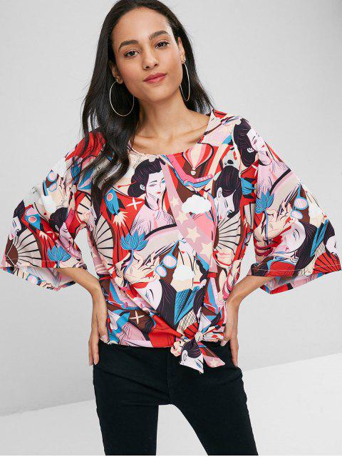trendy Kimino Sleeve Beauty Print Blouse - MULTI M Mobile