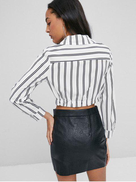 womens Stripes Twist Shirt - WHITE L Mobile