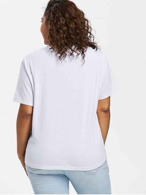 online Plus Size Rainbow Striped Tee - WHITE 3X Mobile