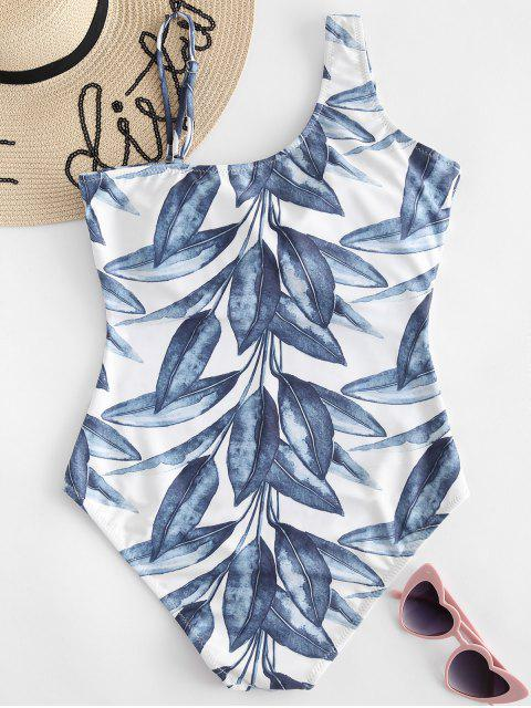 outfits Leaves Print High Waisted Swimsuit - GREENISH BLUE L Mobile