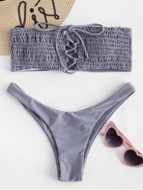 Bikini Bandeau à Lacets et Froncé - Jet gris L Mobile