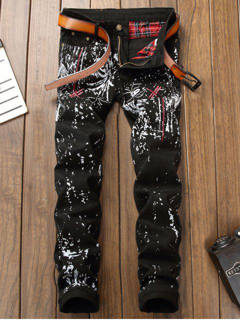 best Dragonfly Embroidery Printed Jeans - BLACK 38 Mobile