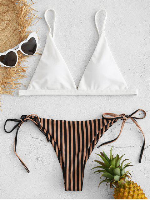 ladies Striped Tie Side Bikini Set - CAMEL BROWN S Mobile