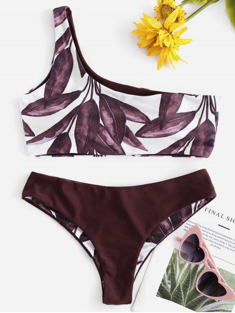 lady Leaf Print One Shoulder Bikini - RED WINE L Mobile